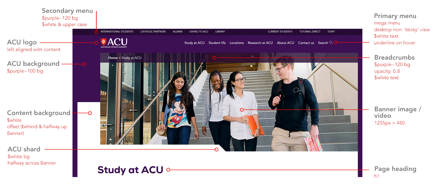 ACU header with banner