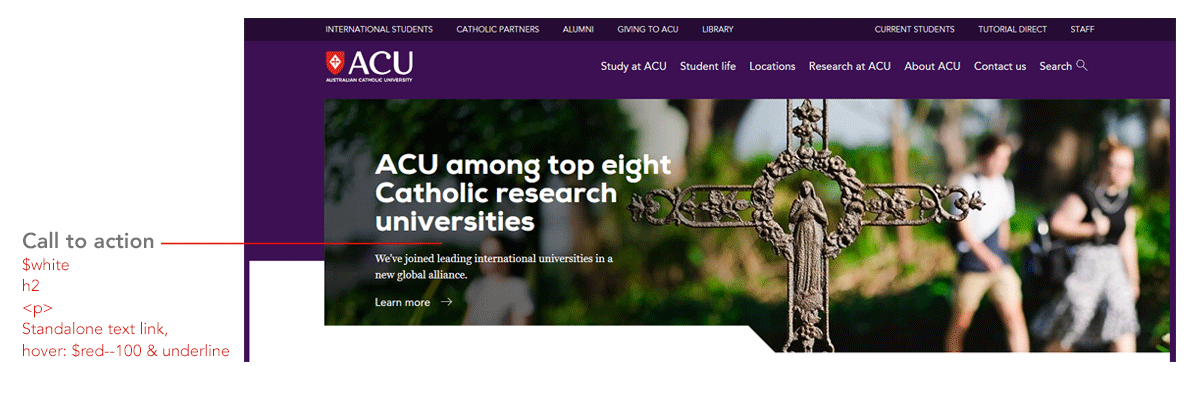 ACU header with an image banner and Call-to-action